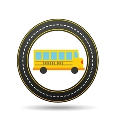 school bus circle road way design vector image