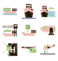 set of flat icons in shading style logistics vector image vector image