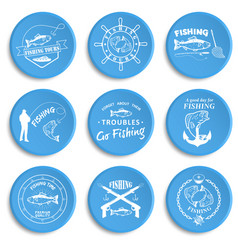 Set of vintage fishing labels badges vector