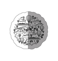 Sticker contour circular pattern formed by means vector