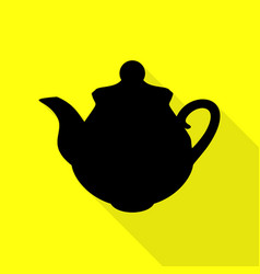 tea maker kitchen sign black icon with flat style vector image vector image