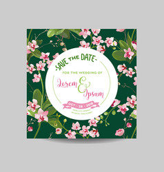 Tropical orchid flowers and leaves wedding vector