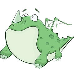 Green dragon cartoon character vector