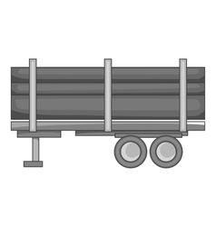 Logging truck with logs icon monochrome style vector