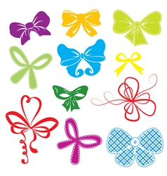 Set of different colors bows vector