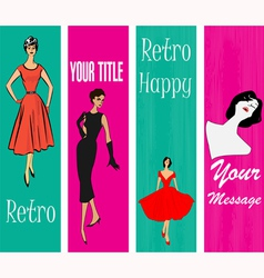 1950s style retro banners vector
