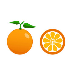 fresh orange and half of orange with leaves flat vector image