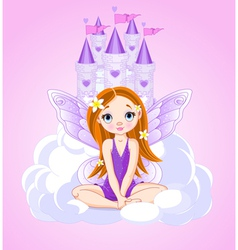 Little cute fairy and a castle vector