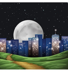 A bright fullmoon in the city vector