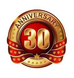 30 anniversary golden label with ribbon vector image vector image