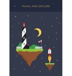 Space islands - travel and explore concept vector