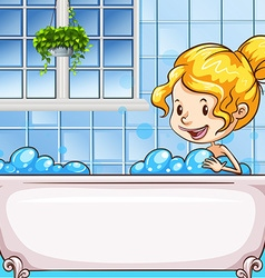 Girl in bath with bubbles vector