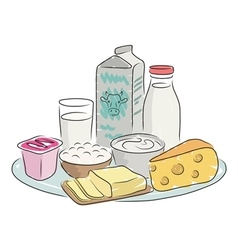Milk products on plate vector