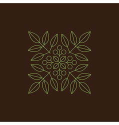 Floral element linear style line art vector