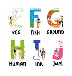 Alphabet letters e to j vector image