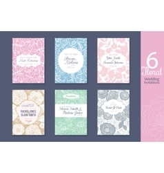 Six floral wedding save the date invitations set vector