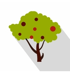Apple tree with red apples icon flat style vector image vector image