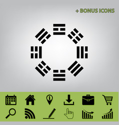 Bagua sign black icon at gray background vector