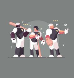 baseball team of players vector image vector image