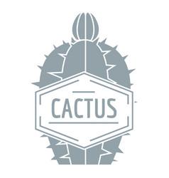 Beautiful cactus logo simple gray style vector