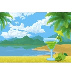 Cocktail Fruits Mountains and Sea vector image vector image
