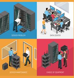 Datacenter 2x2 isometric design concept vector