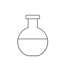 Dotted shape erlenmeyer flask to lab chemical vector