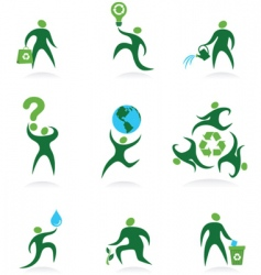 eco man icons vector image vector image
