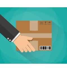 Hand carrying a cardboard box vector