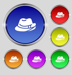 Hat icon sign round symbol on bright colourful vector