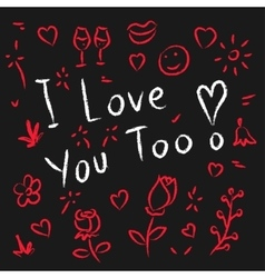 I love you too hand drawn vector