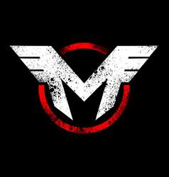 Initial m wing rustic emblem graphic vector