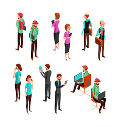 Isometric 3d business people isolated office man vector