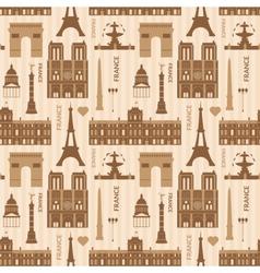 Landmarks of Paris monochrome seamless pattern vector image vector image