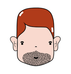 Man face with hairstyle and beard vector