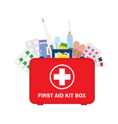 medical first aid kit with different pills vector image