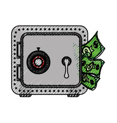 Metal strong box with bills in the door vector