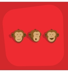 Monkeys faces smile emotions vector