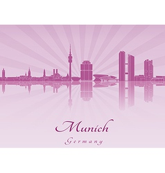 Munich skyline in purple radiant orchid vector