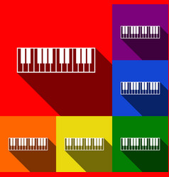 Piano keyboard sign set of icons with vector