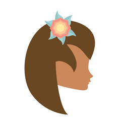 Profile woman flower romantic image vector