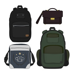 Set of 4 fashionable men bags Color vector image vector image
