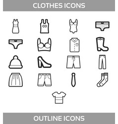 simple set of clothes and shopping outline vector image