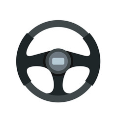 Sports car steering wheel icon flat style vector