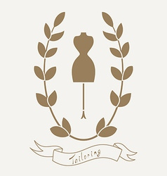 Tailoring emblem with mannequin or dummy vector