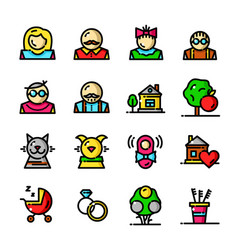 thin line family icons set vector image vector image