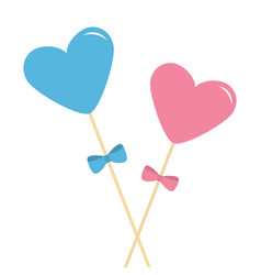 Two sticks with hearts and bows pink and blue vector