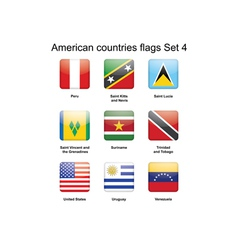 American countries flags set 4 vector