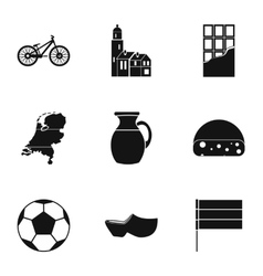 Country holland icons set simple style vector