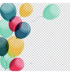 Glossy happy birthday balloons on transparent vector